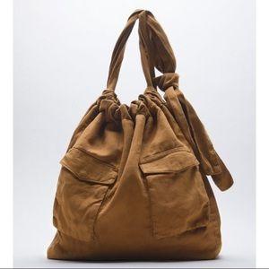 Zara New Brown Boho Tote handbag with front pocket bag, nwt